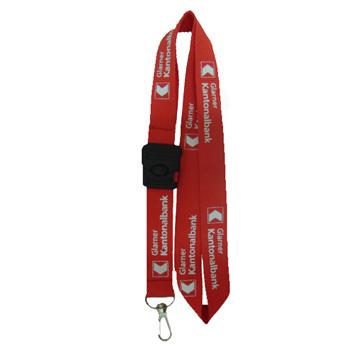 Lanyard rot mit weissem Aufdruck plus Schlüsselband