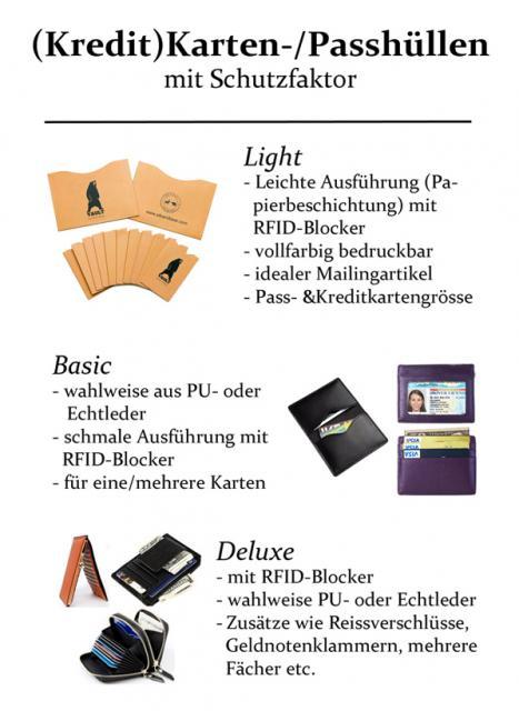 Kreditkartenhüllen und Passhüllen mit RFID-Blocker